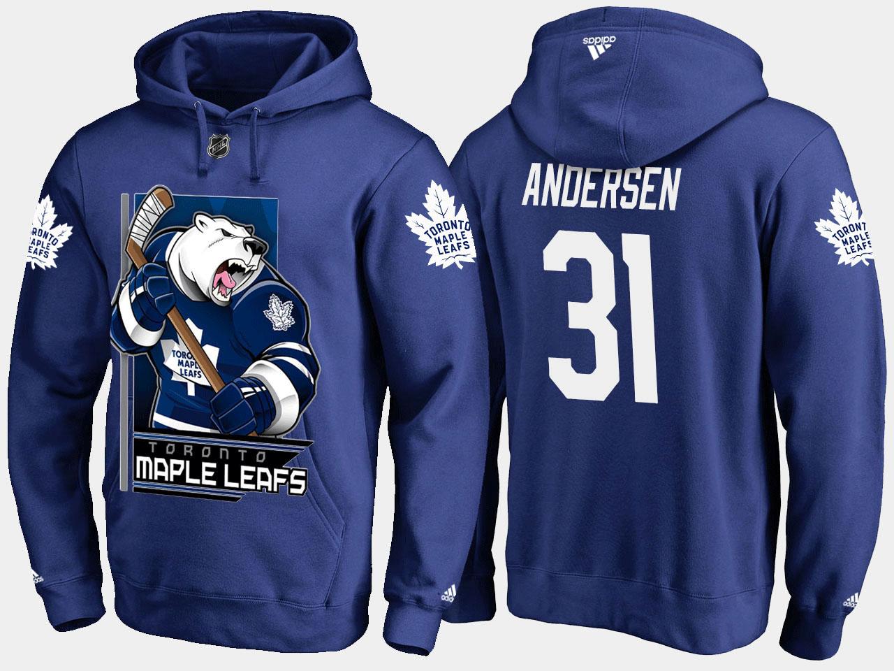 Men's Toronto Maple Leafs Royal Frederik Andersen Cartoon Hoodie