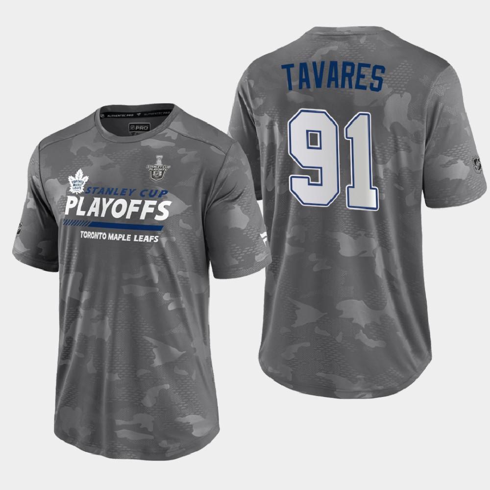 Men's Toronto Maple Leafs Gray 2021 Stanley Cup Playoffs John Tavares T-Shirt