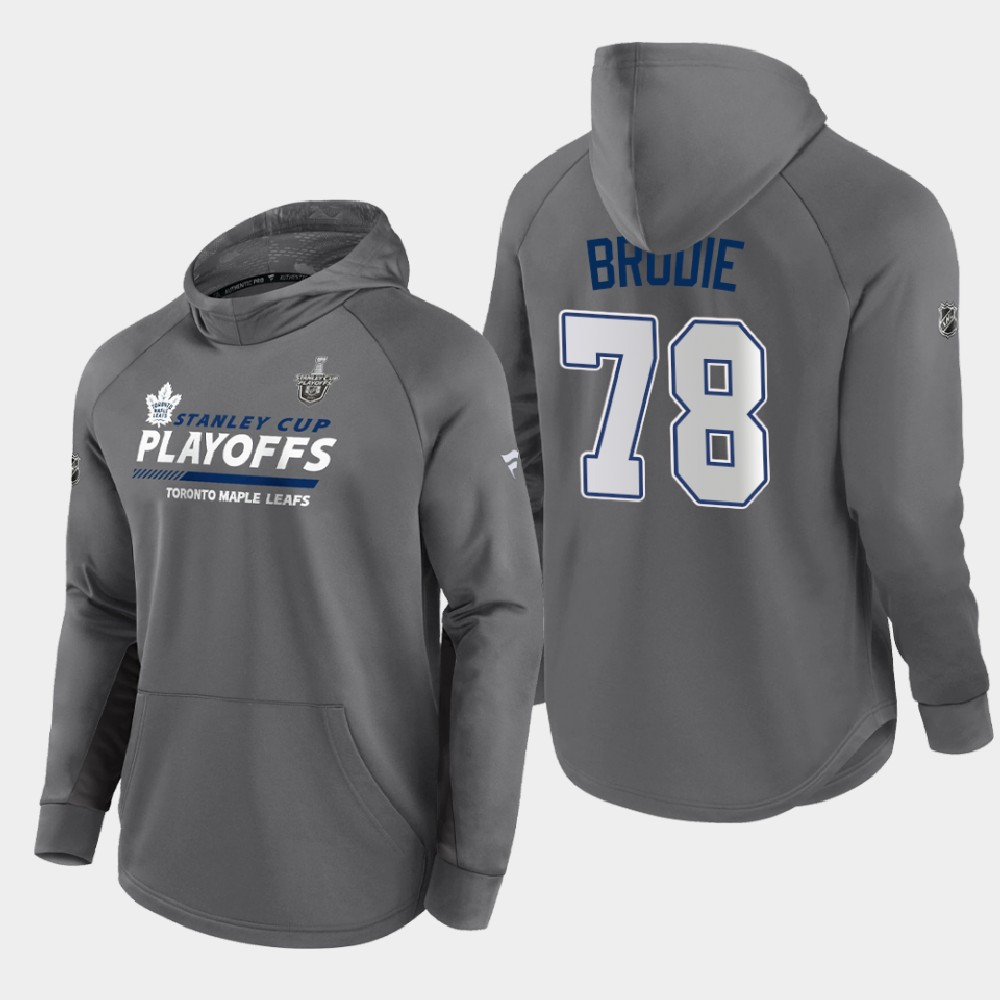 Men's Toronto Maple Leafs Gray 2021 Stanley Cup Playoffs T.J. Brodie Hoodie