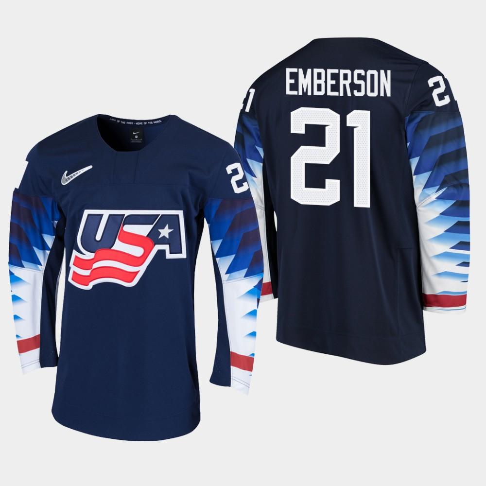 Men's Jersey Black 2020 IIHF World Junior Championship USA Team Ty Emberson