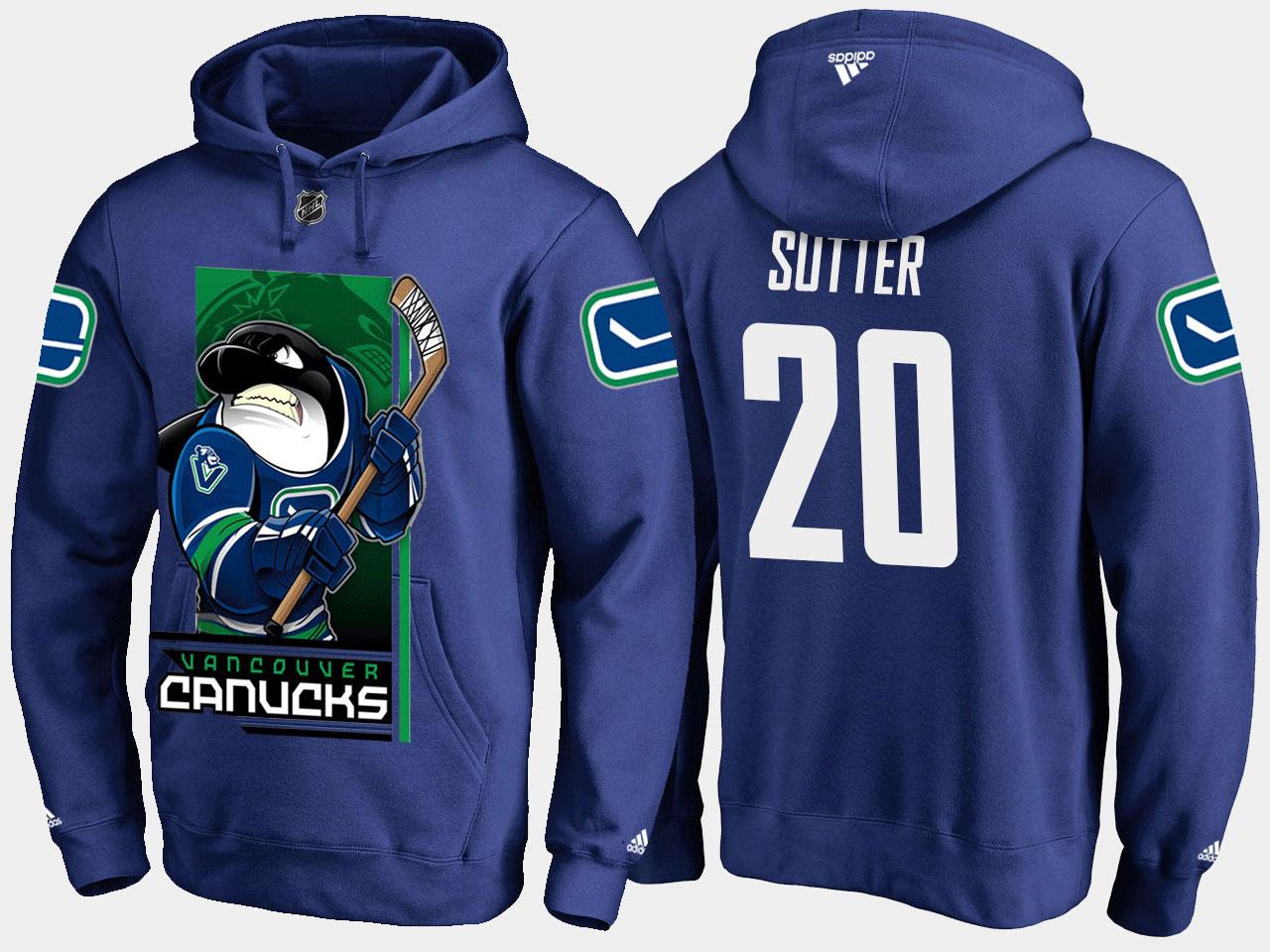 Men's Blue Vancouver Canucks Brandon Sutter Cartoon Hoodie