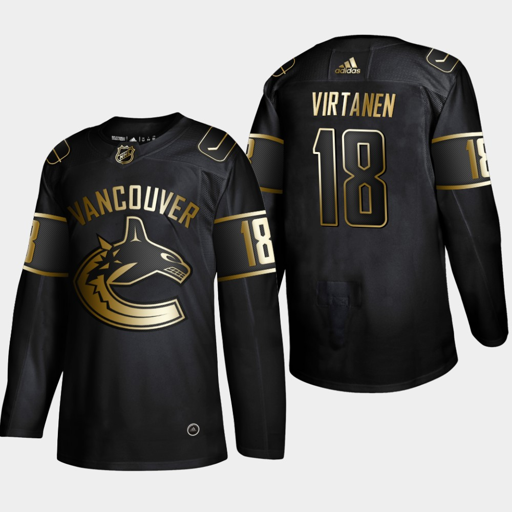 Men's Jersey Black Vancouver Canucks NHL Golden Edition Jake Virtanen