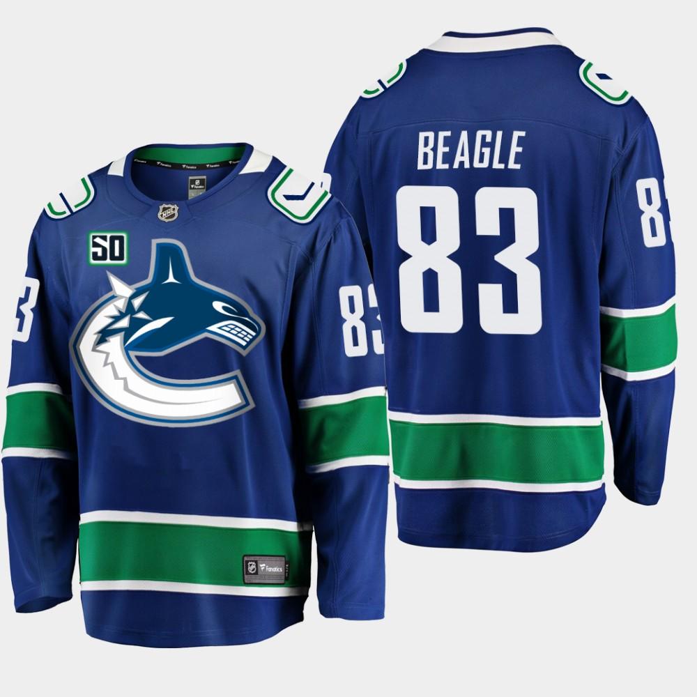 Men's Jersey Blue Vancouver Canucks 50th Anniversary Jay Beagle