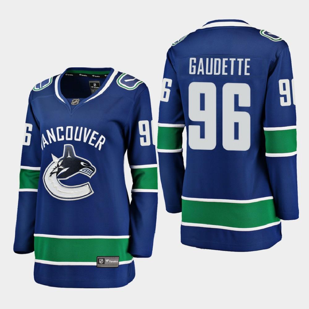 Jersey Blue Home Vancouver Canucks Women's Adam Gaudette