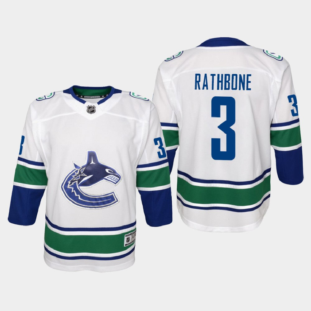 White Jersey Away Vancouver Canucks Youth Jack Rathbone