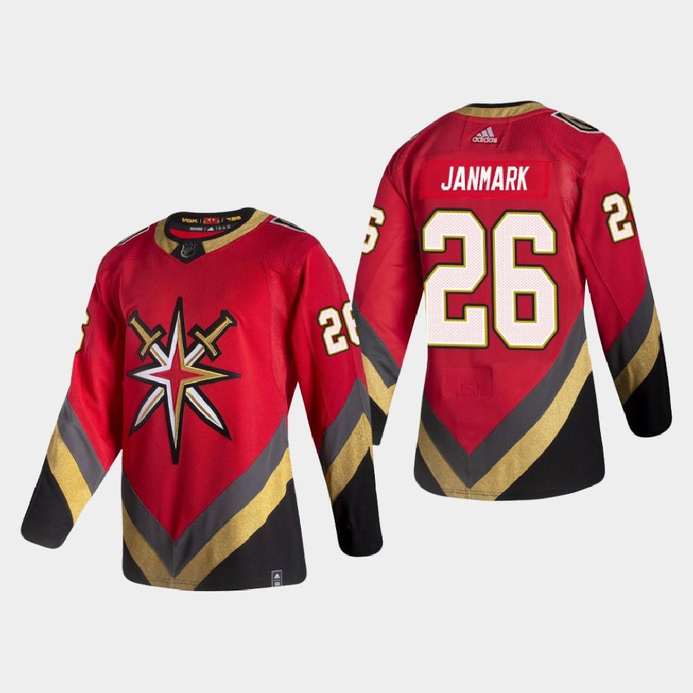Men's Jersey Reverse Retro Red Vegas Golden Knights Mattias Janmark