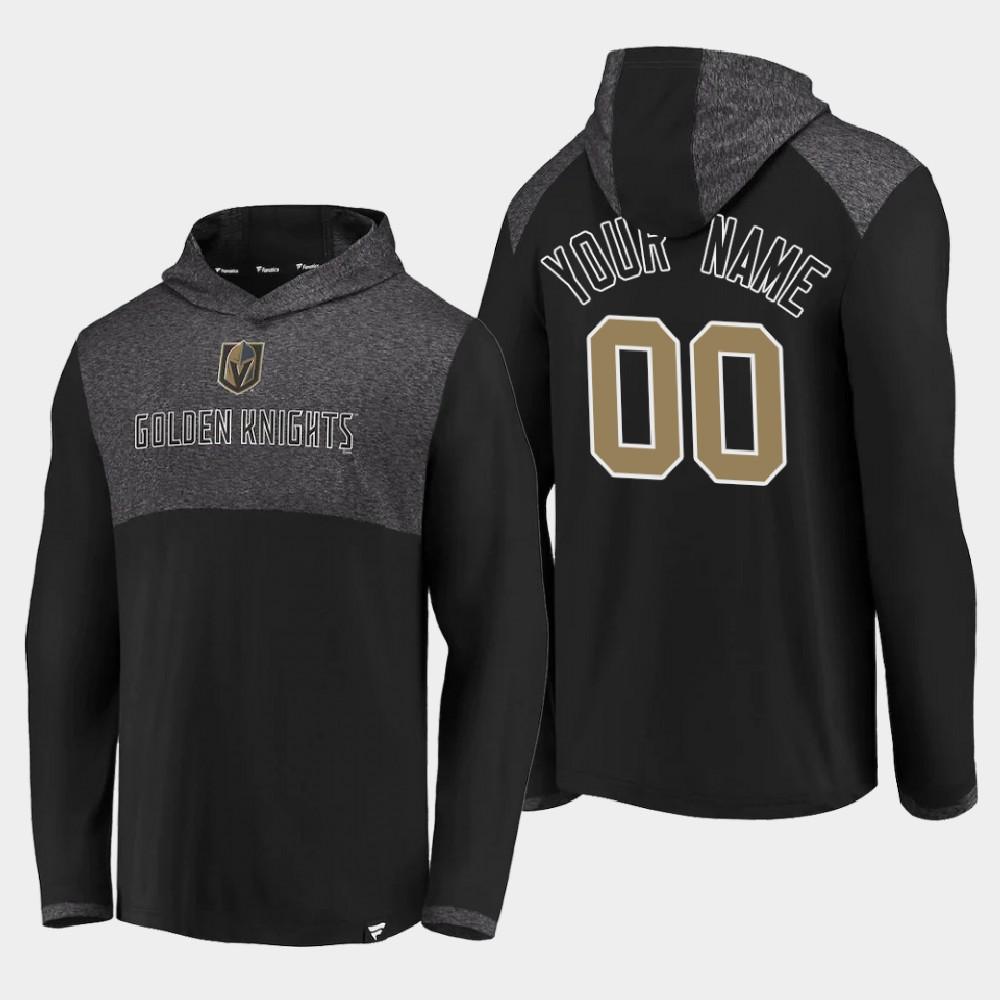 Men's Vegas Golden Knights Black Custom Hoodie Iconic Marbled Clutch