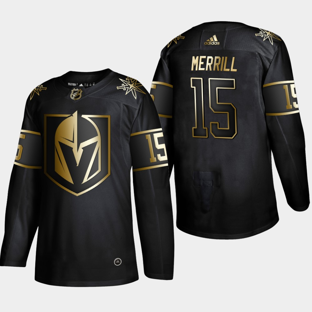 Men's Jersey Vegas Golden Knights Black NHL Golden Edition Jon Merrill