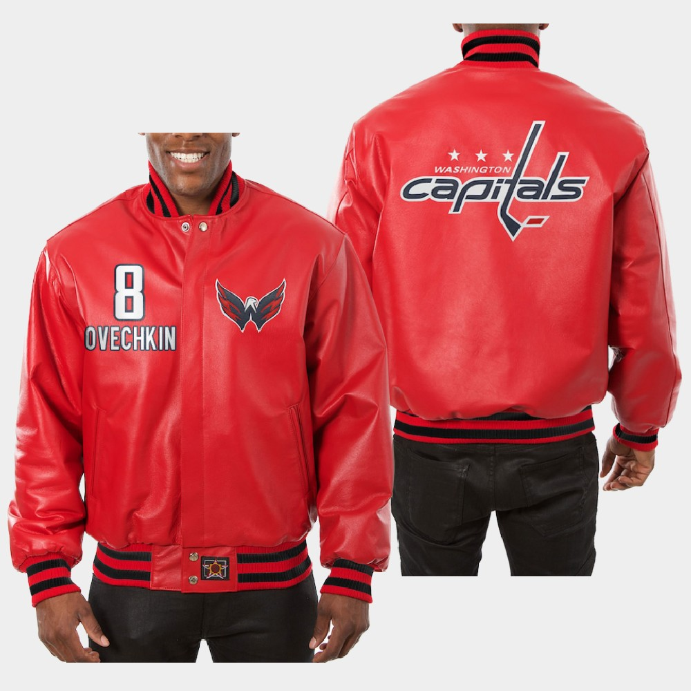Men's Red Washington Capitals Alexander Ovechkin Jacket All-Leather