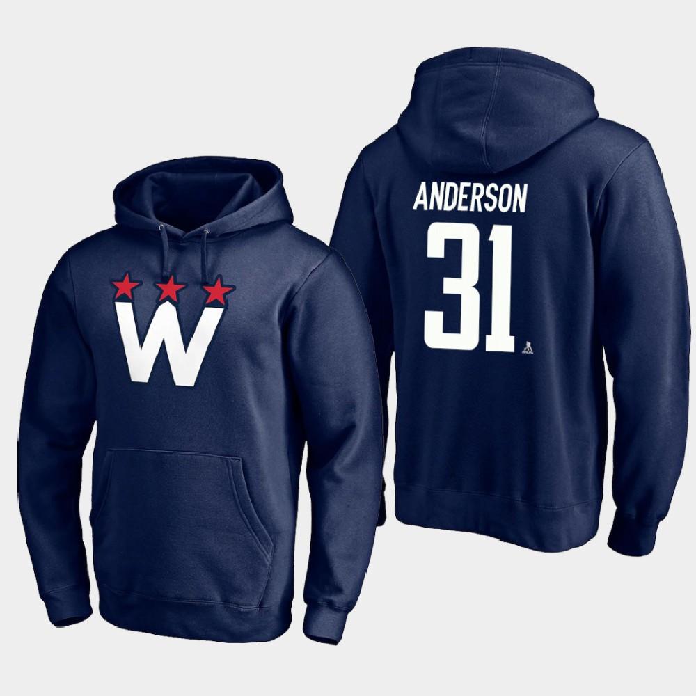 Men's Navy Alternate Washington Capitals Craig Anderson Hoodie