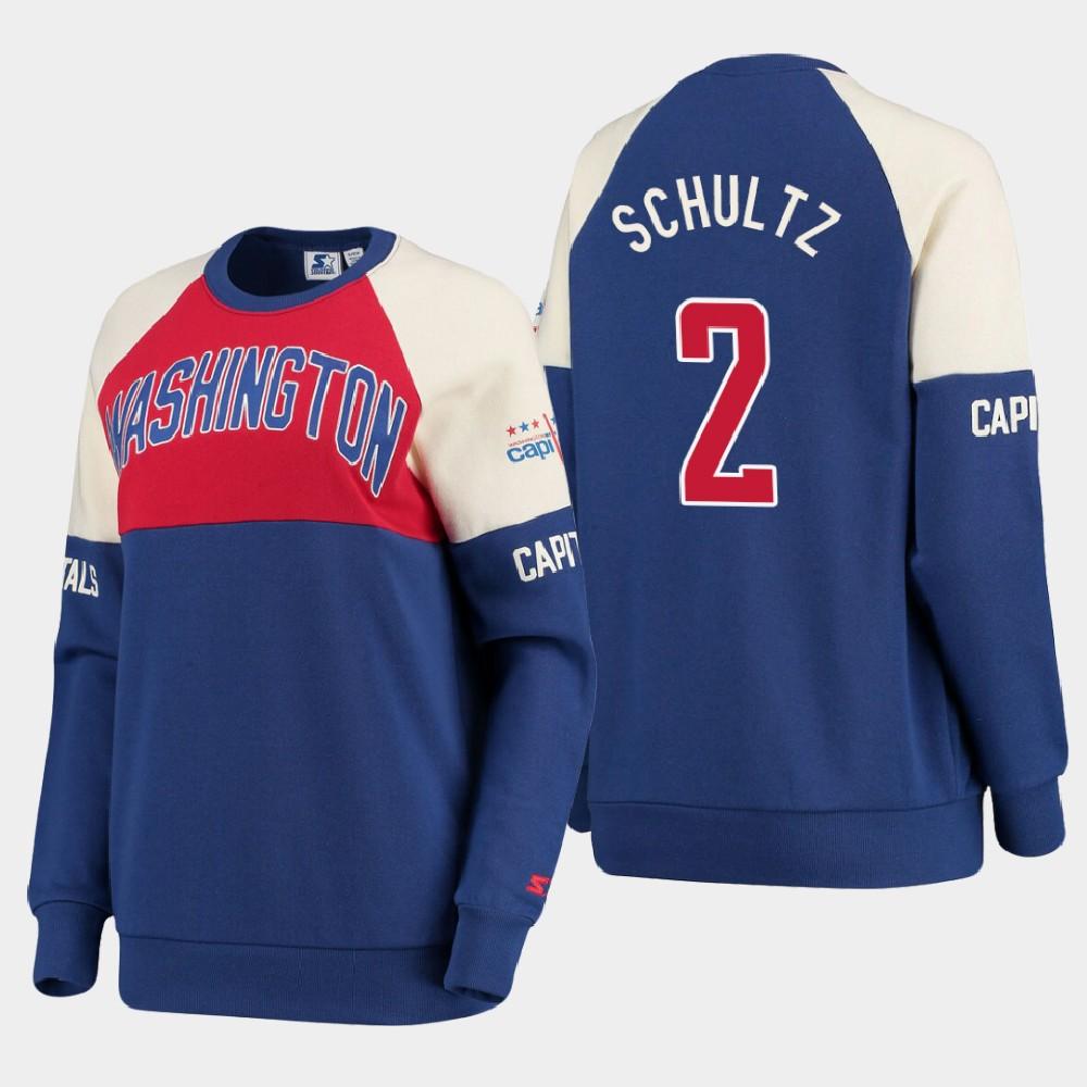 Navy Washington Capitals Women's Justin Schultz Sweatshirt Baseline Raglan