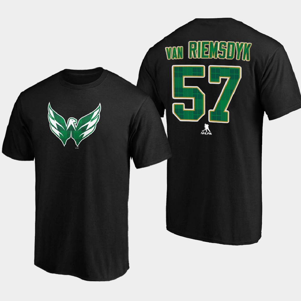 Men's Black Washington Capitals Trevor van Riemsdyk St. Patrick's Day T-Shirt
