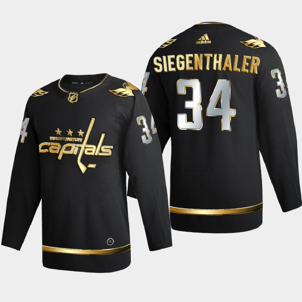 Men's Jersey Black Authentic Golden Washington Capitals Jonas Siegenthaler