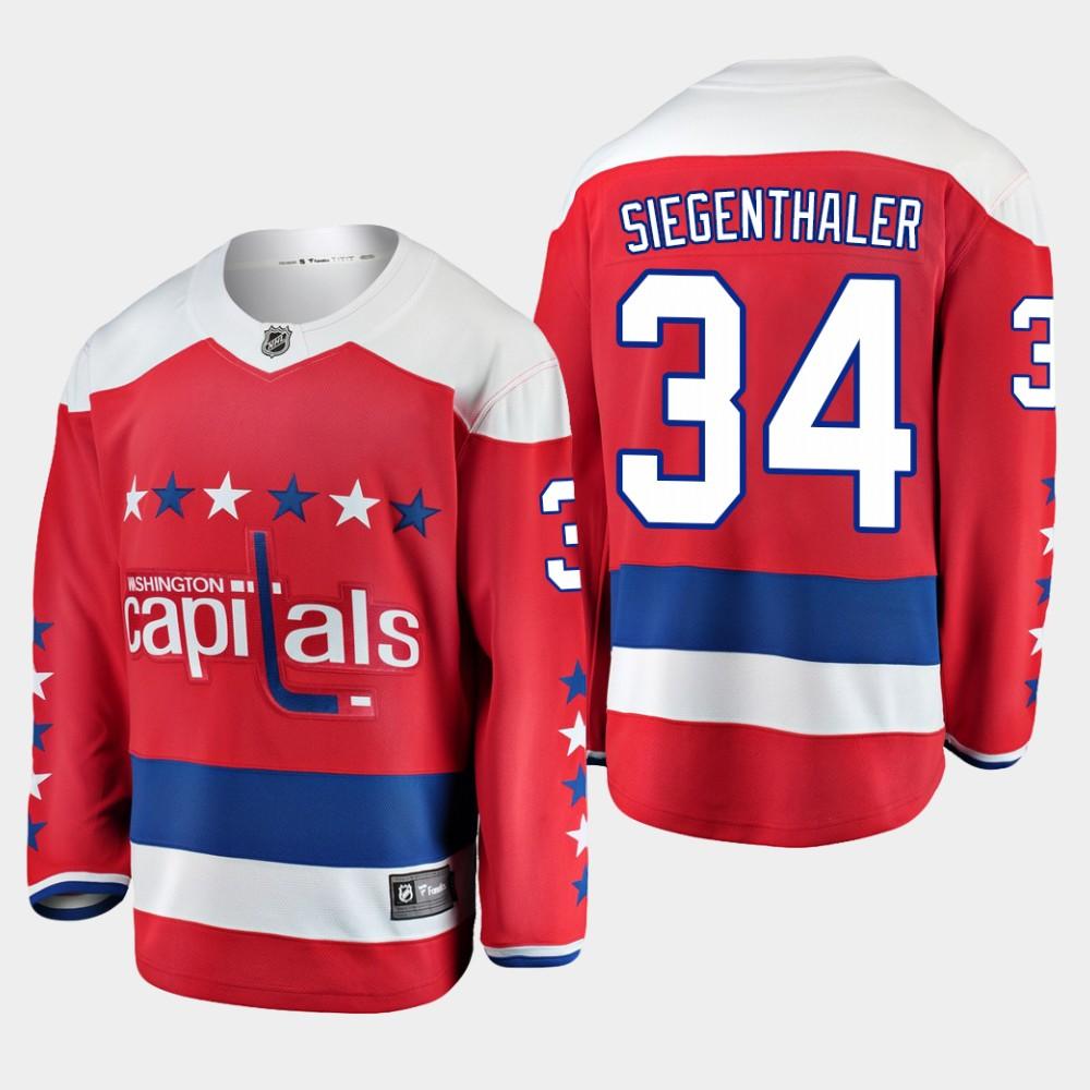 Men's Jersey Red Alternate Washington Capitals Jonas Siegenthaler