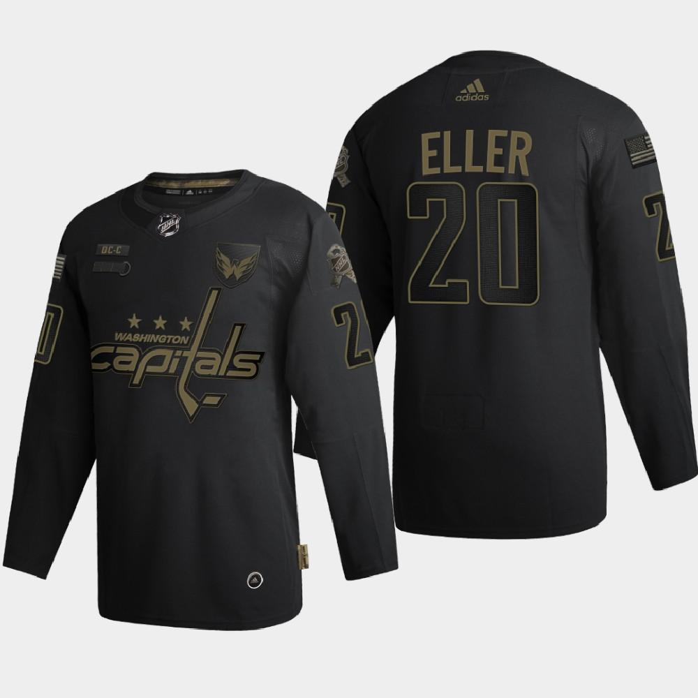 Men's Jersey Black Washington Capitals Lars Eller 2020 Veterans Day
