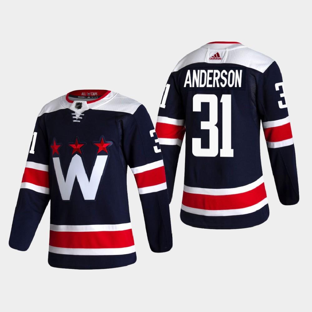 Men's Jersey Navy Alternate Washington Capitals Craig Anderson