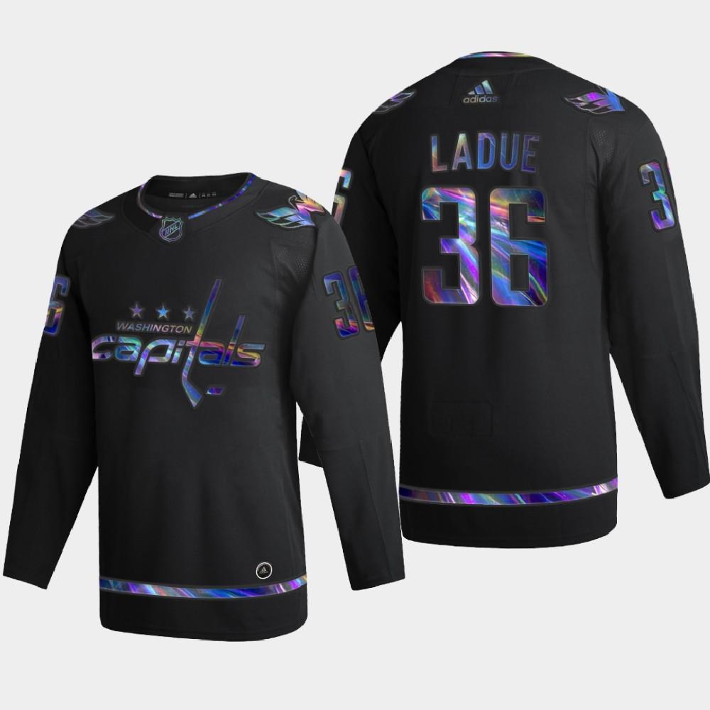 Men's Jersey Black Iridescent Holographic Washington Capitals Paul LaDue