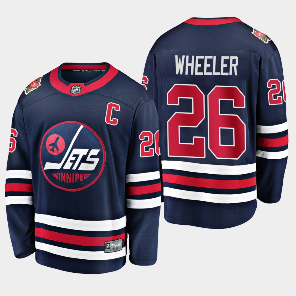 Men's Jersey Navy Winnipeg Jets Blake Wheeler 2019 Heritage Classic
