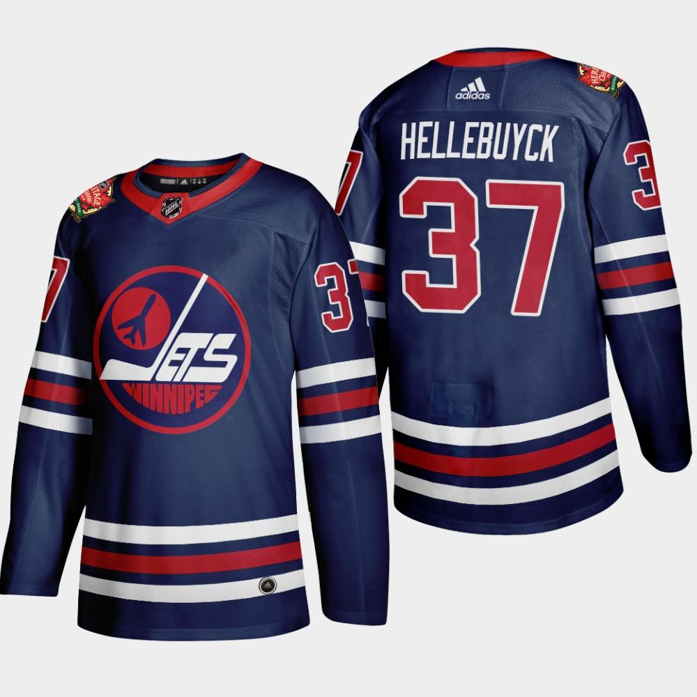 Men's Jersey Navy Winnipeg Jets Connor Hellebuyck 2019 Heritage Classic