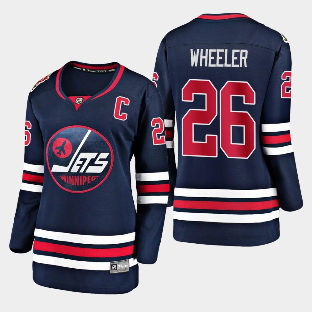 Jersey Navy Women's Winnipeg Jets Blake Wheeler 2019 Heritage Classic