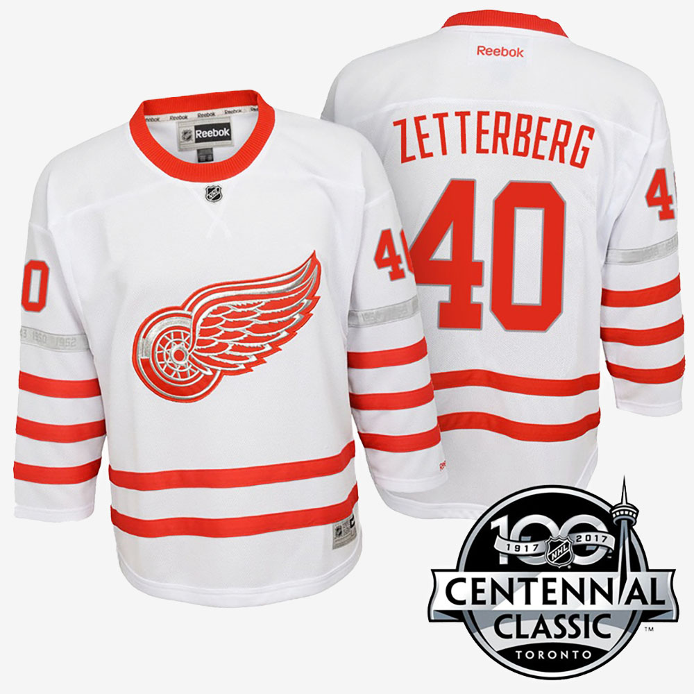 White Jersey Youth Detroit Red Wings Henrik Zetterberg Anniversary