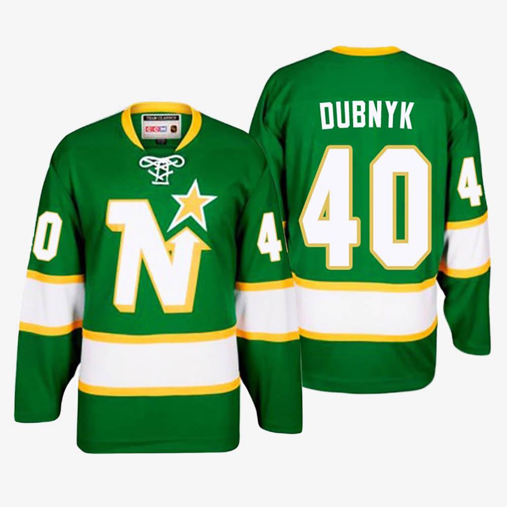 Men's Jersey Green Throwback Minnesota Wild Devan Dubnyk