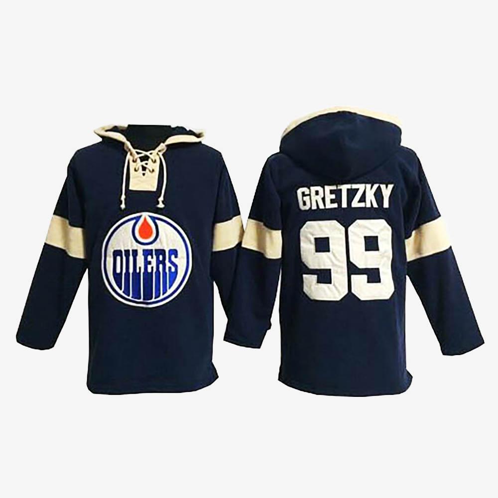 Men's Edmonton Oilers Wayne Gretzky Navy Blue Hoodie Pullover